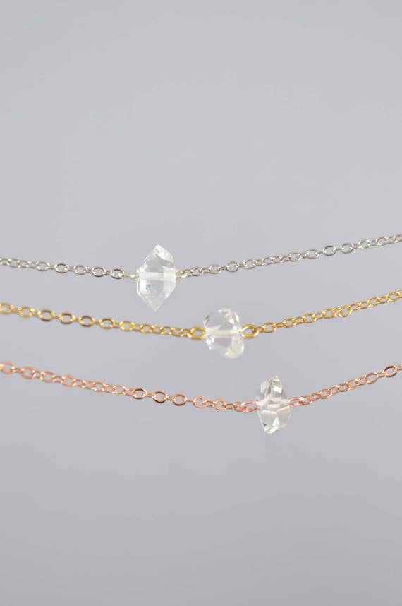 Single Herkimer Diamond Birthstone Necklace