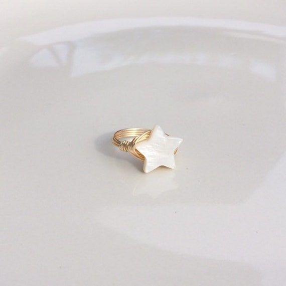 Mother of Pearl Ring Celestial Star Ring, Star Ring, Rose Gold Wire Wrapped Ring, Jade Wire Wrapped Ring, Gemstone Ring, Rose Gold Ring