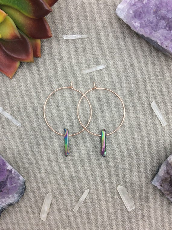 Rainbow Titanium Quartz Crystal Hoop Earrings