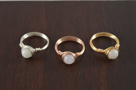 Rainbow Moonstone Gemstone Ring, Crystal Ring, Silver, Gold, Rose Gold Ring, White Crystal Ring, Natural Ring, Organic Ring