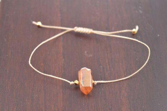 Tangerine Aura Quartz Crystal Point Bracelet