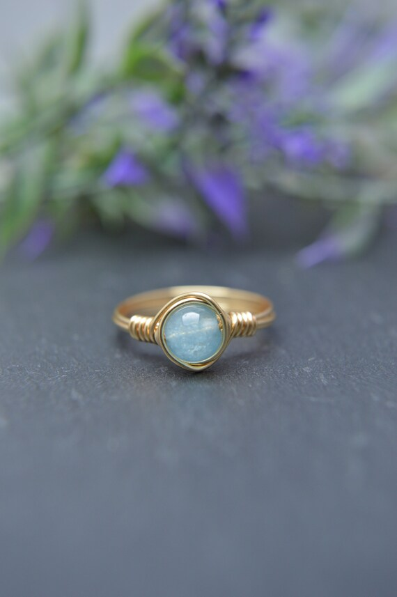 Aquamarine Wire Ring