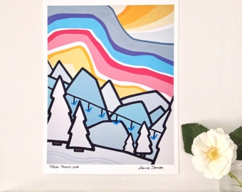 Landscape Art Print of Colorful Mountains and Sky- Fresh Tracks-Rockies-Skiing-Interior Decor-Home Decor-Office-Perfect Gift