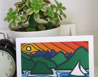 Fine Landscape Art Greeting Card-Sailors Delight-Rocky Mountains-Pacific Ocean-Sailing-B.C-National Parks-British Columbia-Leanne Spanza