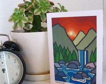 Landscape fine Art Card-Waterfalls-Westcoast Art-Mountains-British Columbia-The Falls II-Bold Colours-Leanne Spanza-Greeting Card