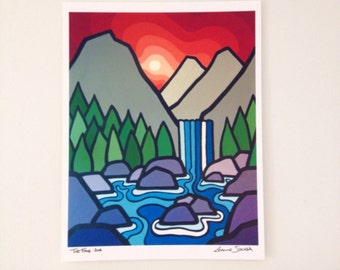 Landscape Art Print of Colorful Mountains and Sky-The Falls-Waterfalls-British Columbia-Interior Decor-Home Decor-Office-Perfect Gift