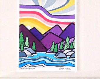 Landscape Art Print of Colorful Mountains and Sky -A Day at the Lake-Rockies-Interior Decor-Home Decor-Office-Perfect Gift