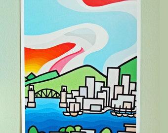 Landscape Art Print of Colorful City and Sky-Burrard Bridge-Vancouver British Columbia-Interior Decor-Home Decor-Office-Perfect Gift
