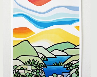 Landscape Art Print of Colorful Mountains and Lakes-Okanagan-British Columbia-Interior Decor-Home Decor-Office-Perfect Gift