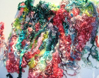 Hand Gradient Dyed Carnival Long Sheep Wool Locks 6 To 11 Inches Plus Most Are 10 Inches Or Longer Spin Felt Doll Hair
