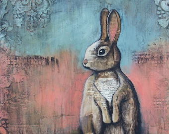 4f21ded40c6f3 Rabbit Art, titled The Cottontail, Limited Edition, nature art, cabin art,  lake house art, hunting art, Mixed Media Art