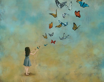 """Butterfly Art Print, titled With Open Hands, 30""""x30"""" Archival Paper Reproduction"""