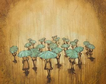 Rain Print, Rain Art Print, titled A Light Rain #4 , print on paper