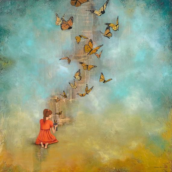 Butterfly Print monarch painting Girl Releasing  Butterflies   Etsy
