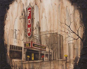 Fox Theater Painting, Atlanta Painting, City Art Print, Rain Art Print, titled Fox Theater, Limited Edition Print on Paper