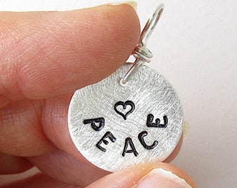 PEACE.  Fine silver Christian hand stamped charm.  Inspirational jewelry.  Bible words charm.