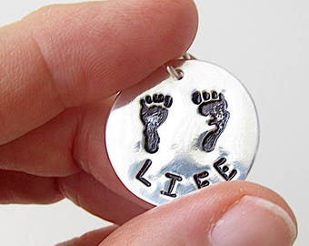 Life-Size Baby Footprints at 10 Weeks, Pro Life Silver Charm, Precious Feet, Right to Life Jewelry, Christian Silver Charm