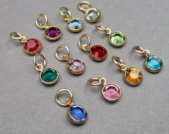 46b6eec4b Swarovski Gold Birthstone Charms SET of 12, 6mm Swarovski Crystal Channel  Gold Bracelet Charms, Gold Necklace Charm, Earring Charms