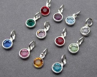 Swarovski Birthstone Charms, Tiny 4mm Swarovski Crystal Channel Silver Necklace Charms, Add a Charm, Gift for Mother, Personalized Jewelry