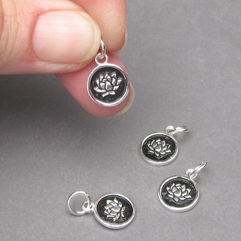 Necklace Charm Adjustable Bangle Bracelet Charm Yoga Charm Lotus Flower Pendant Sterling Silver Lotus Flower Charm