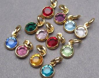 Swarovski Birthstone Gold Charms, 4mm Swarovski Crystal Channel Charms, Bead Dangles, Add a Charm, Necklace Charms, Personalized Jewelry