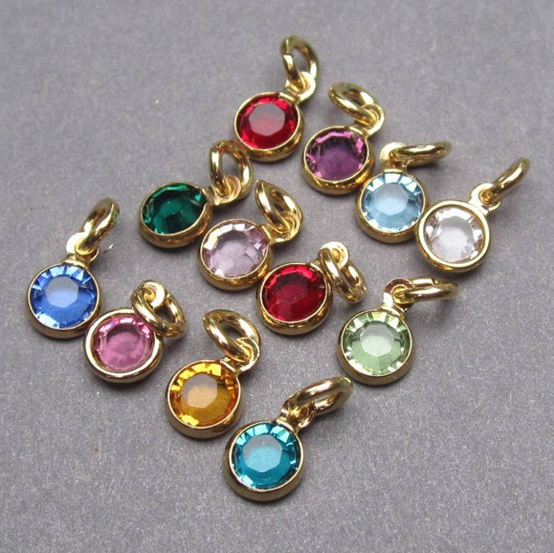 5acb4983ba6823 Swarovski Birthstone Gold Charms 4mm Swarovski Crystal