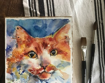 """Cat Art, yellow orange and white long haired tiger cat watercolor painting mounted on to wood panel and varnished   """"Honesty"""""""