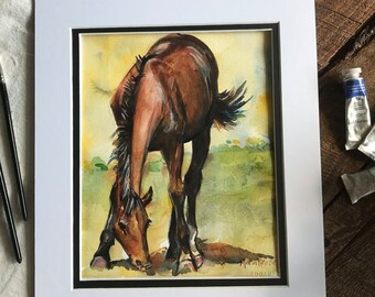 Brown Horse painting, watercolor horse on watercolor paper