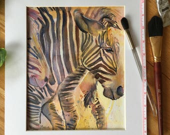 Zebra  wildlife zoo watercolor painting, painted in pastel colors, Heads or Tails.