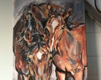 Horse painting of brown mare and foal painted in oil paint on stretched canvas