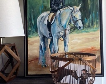English hunt seat horse, white horse with rider