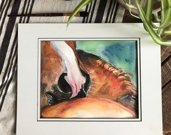 Horse watercolor painting of two horses scratching each other's back