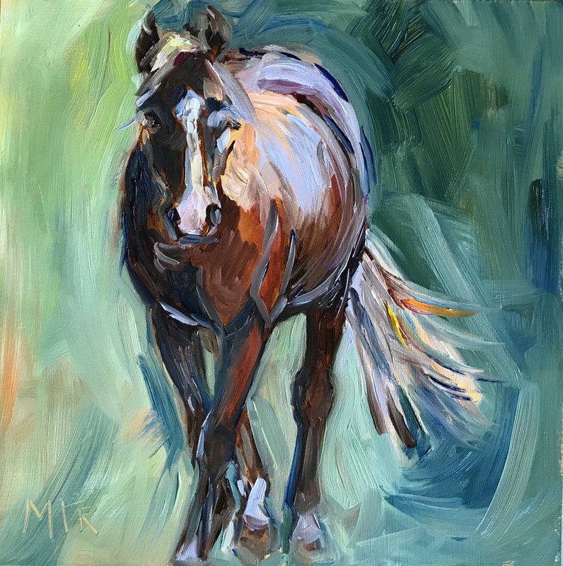Horse Painting Of Chestnut Horse Oil Painting On Board