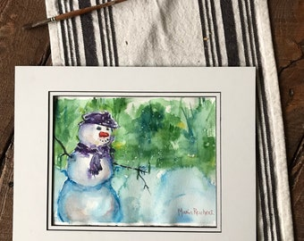 Snowman painting watercolor for Christmas Holiday Shopping