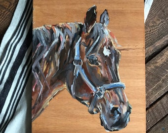 Horse painting oil on natural pine board