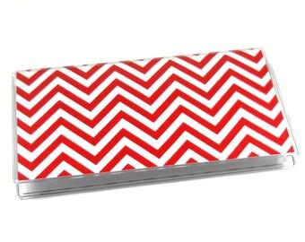Checkbook Cover Red Chevron