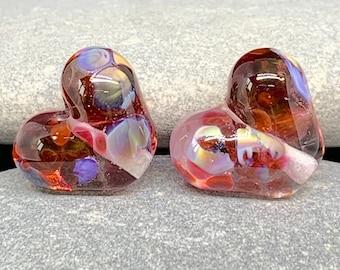 Handmade lampwork bead pair, Amelia hearts