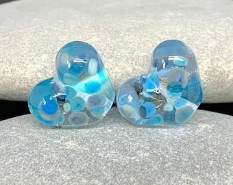 Handmade lampwork bead pair, River hearts