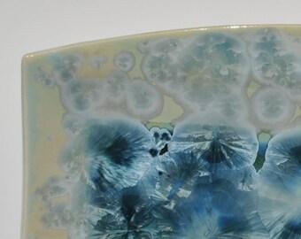 Green Crystalline Pottery Tray