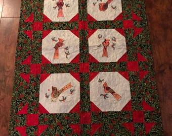 Seasonal Wall Hanging with Mylar embroidered cardinals