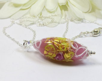 Murano Pink Gold Rose Necklace, Venetian Murano Rose Gold Flower Bead Necklace w 24kt Goldfoil & Swarovski Crystal and 925 Sterling Silver