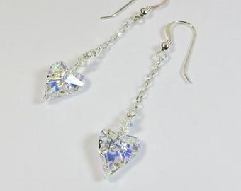 Swarovski Crystal Heart Earrings, Crystal Aurora Borealis Swarovski Crystal Heart Earrings w 925 Sterling, AB Heart on Silver Chain Earrings