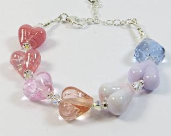 Pinks and Lilacs Hearts Bracelet, Handmade Lampwork Glass Heart Beads Bracelet, Shades of Pinks and Lavender Bracelet with Sterling Silver