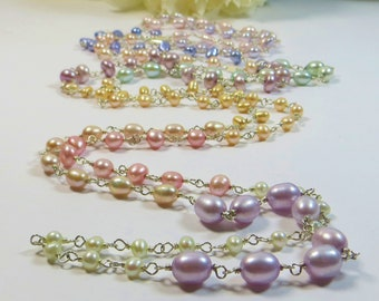 Extra Long Pearls Necklace, Multicolour Delicate Pastels Green Yellow Blue Rose Pink Grey with Sterling Silver Wirewrapped Luxe Necklace