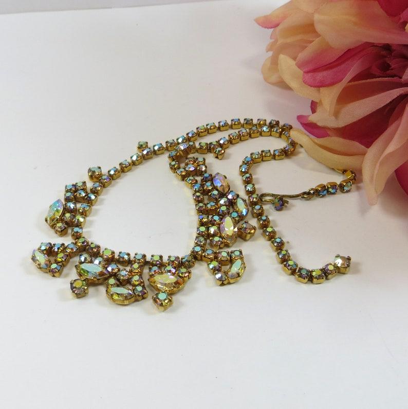 Vintage Crystal Rhinestone Necklace Lovely 1950/'s Sparkling AB Aurora Borealis Crystal Choker Necklace Glittering Sparkling Necklace