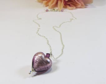 Venetian Murano Glass Necklace, Very Pretty Amethyst Heart Necklace w Swarovski Crystal & 925 Sterling Chain, Gorgeous Murano Heart Necklace