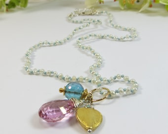 Silk & Gems Pearl Necklace w Aquamarine, Vermeil Heart w Sterling Silver and Pink Topaz Gemstone, Handmade Pearl Necklace with Gemstones