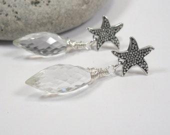 Starfish Earrings, Rock Crystal Sterling Starfish Earrings, Clear Faceted Rock Crystal 925 Sterling Silver Starfish Earrings, Post Earrings
