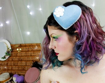Mini Felt Heart Fascinator - Wedgewood Blue