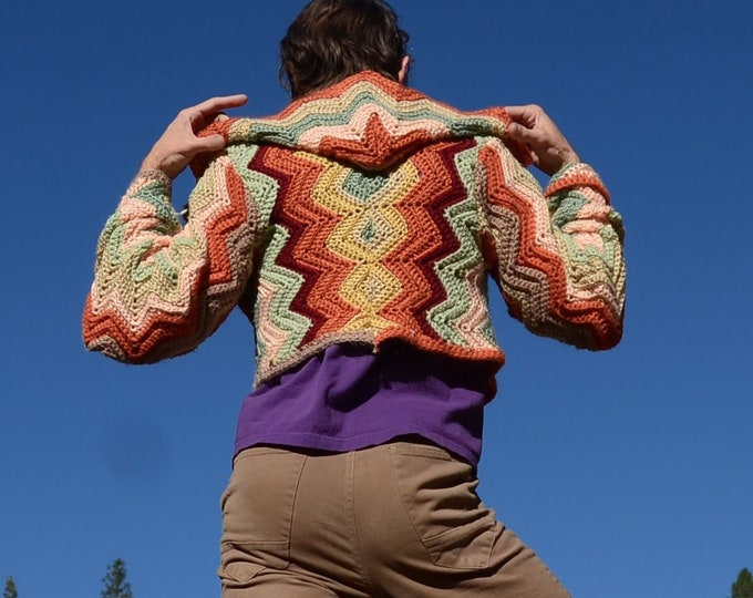 Crochet Sweater Hoodie Earth Tone Chevrons